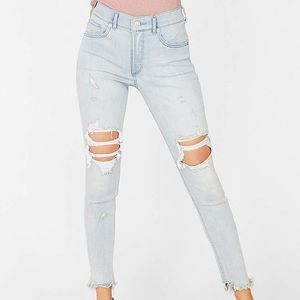 Express High Waisted Ripped Denim Ankle Leggings